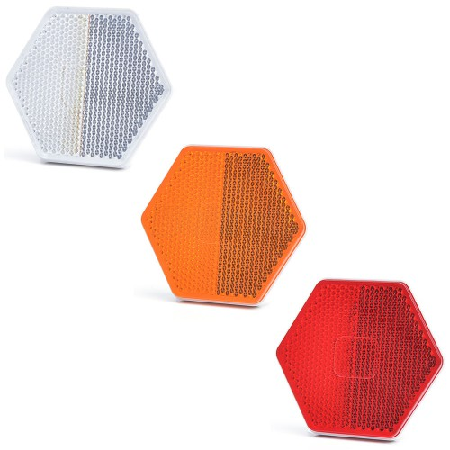 CATADIÓPTRICO REFLECTANTE HEXAGONAL 75X66mm TRASERA ADHESIVA WAS UO6